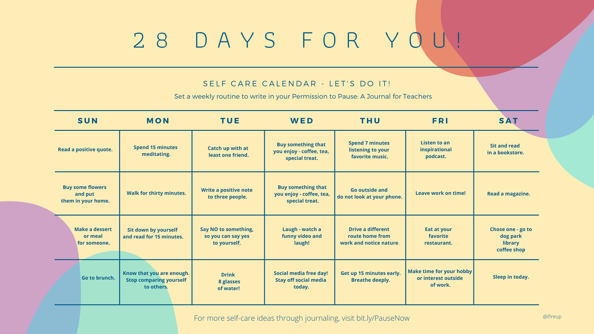28 Days of Self-Care for You!